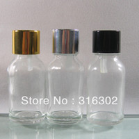 Glass Yes Huicheng (DHL)Free shipping, 200 lot 15ml clear empty glass essential oil bottle with gold, silver, black aluminum cap