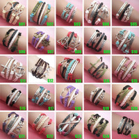 Charm Bracelets South American Women's Wholesale NEW Jewelry fashion Leather Cute Infinity Charm Bracelet Silver lots Style pick