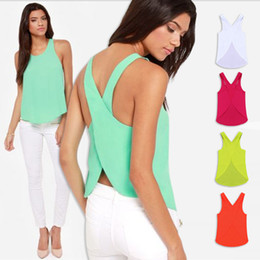 Wholesale 2014 Spring Summer Women Blouses Candy Color Casual Lady Shirts Sexy Backless Strap Chiffon Blouse Tops XXL