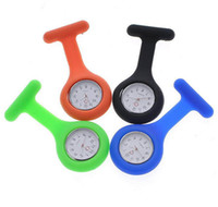 Wholesale Nurse Doctor Medical Watch Colorful Silicone Rubber Nurse Watches Clip Pocket Watches With Pin Colors