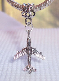 Wholesale MIC or Antique silver Airplane Travel Vacation Transportation Dangle Bead Fit Charm Bracelet x16mm Z223