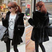 Cheap 2x 2014 Fashion Style Women Faux Fur Winter Warm Thicken Hooded Outwear Coat Parka Overcoat Black Size S M L XL Free