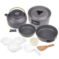 Wholesale Aluminum Oxide Outdoor Camping Pot Set Hiking Cookout Picnic Cookware Teapot Coffee Kettle Set All in One for People