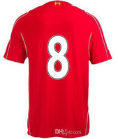 Thailand Quality EPL Club #8 Gerrard Home Red Soccer Jerseys...