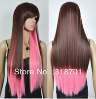 Straight Synthetic Hair Wig,Half Wig Long Straight Brown&Pink Party Costume Wigs Heat Resistant Hair Free Shipping