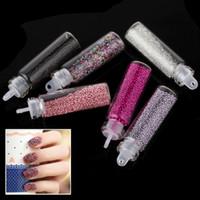 Full Natural Tips Square  Nail Tips 6 Colors Zeal Rose Nail Art Decoration Kit Acrylic Nail Power + Women Nail Beads Decoration for Nail Beautifying