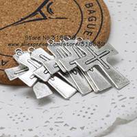 antique metal plate - pieces mm Antique Silver Plated Metal Alloy Crosses for Jewelry Making Cross Charms