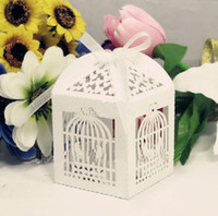 White small paper boxes - Bird Cage Favor Box Laser Cut Wedding Candy Boxes Small Paper Boxes Party Supplies Drop Shipping