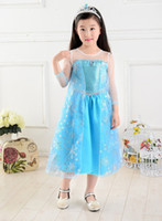 TuTu Summer Pleated In stock summer 2014 baby party princess clothes costume lace long sleeve blue kids girls fantasia elsa frozen dress