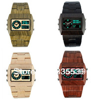 Men's Rectangle 243 Free shipping! new design led & Japan quartz double movement Bewell brands 3 colours wood watch, men's wooden watch