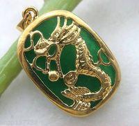 Pendant Necklaces jade - Beautiful green jade dragon Jewelry pendant pc