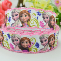 Wholesale 7 mm Frozen princess printed grosgrain ribbon hairbow DIY party decoration with crochet yards satin ribbons C