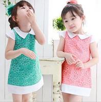 Wholesale 2014 Summer New Children Clothing Little Girls lovely cute Flower Princess Dress Pink Green Lapel Dresses Fancy Sweet Dress L0001