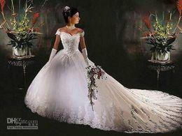 Wholesale Fancy Off the shoulder V neck Empire Ball Gown Chapel Train Bridal Dresses A line Wedding Dress