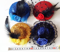 Barrettes Lace Floral mini top hat feather hair clip HAIR MESH HAT FASCINATOR CLIP FLOWER WEDDING PARTY Fascinator 10cm diameter mixed #3656
