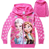 Wholesale Cartoon Girls Hoodies Elsa Anna Princess coat children s long sleeve Jacket Kids Sweatshirts autumn spring cotton clothes