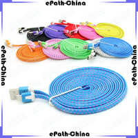 Wholesale 3M ft USB Fabric Braided Data Sync Charging Cable Fiber Flat Knit Woven Charger Cord For Smartphone Mobile Phone