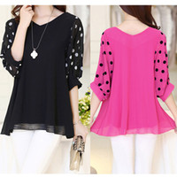 Women chiffon V_Neck Plus Size M L XL XXL Fashion Women Bat Sleeve V Neck Polka Dot Chiffon Maternity Blouses Shirts Summer Loose Pregnant Clothes G0548
