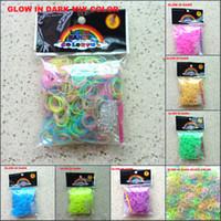 Charm Bracelets Bohemian Unisex GLOW IN DARK-loom bands kit bracelet 600pcs+25 S CLIP +1 HOOK Fluorescent loom Rainbow loom DIY children toy rubber band DHL free