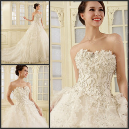 Wholesale 2014 Zuhair Murad New Wedding Dress Bridal Gown With Luxury Crystals Bow Appliques Sequin Court Train Tiered Sweetheart Ball Gown