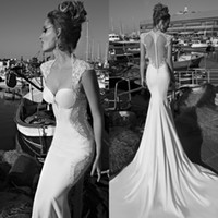 Wholesale Gorgeous Galia Lahav Wedding Dresses Sexy Mermaid Sweetheart Cap Sleeves Sheer Back Chapel Train Lace Bridal Gowns Custom made EM02198