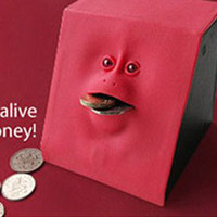 Wholesale Lovely toys gifts face Eat coin bank money box gifts only color red pink