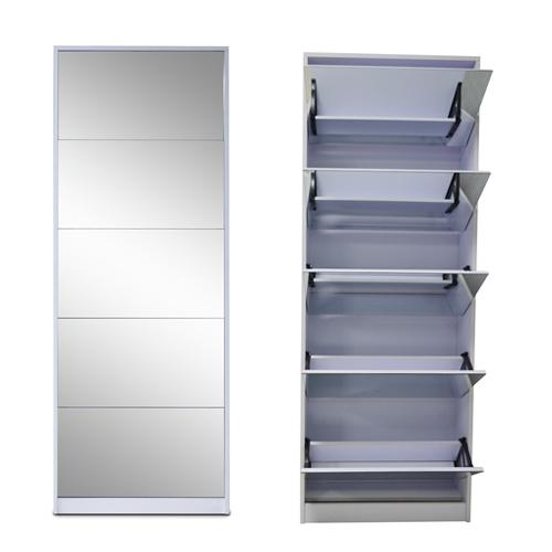 Wood Mirrored Shoe Cabinet Shoe Rack With 5 Layers Shoes Storage