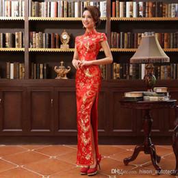 Wholesale Long cheongsam Dress Wedding Dress Chinese Improved Etiquette Hotel cheongsam High Slit Size S M L XL