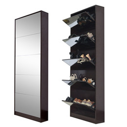 Wholesale High Quality Wooden Mirror Shoe Rack With Layers Shoes Storage Cabinet Living Room Furniture USA Warehouse