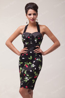 Wholesale New Glam Vintage s Florals Rockabilly Pencil Tunic Party Midi Work EVENING Dresses Sizes CL4590