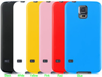 For Samsung S5 Candy Color Solid Soft Glossy Jelly Rubber Si...