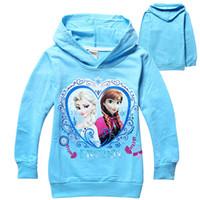 Wholesale 2014 fashion girl Frozen Sweatshirts Hoodies T Shirts Tee Top Elsa long sleeve children clothes kid clothing wear blue yellow