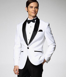New Custom Design One Button White Black Satin Lapel Groom Tuxedos Best Man Groomsmen Men Wedding Suits (Jacket+Pants+Girdle+Tie) OK:657