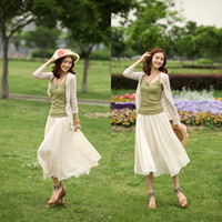 Cotton Above Knee Women Wholesale Womens Solid Ankle Full Skirt Long Maxi Boho Ruffle Pleated Bohemia Retro HR525