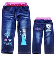 Wholesale frozen Children s jeans denim trousers pants Frozen Girls jeans size