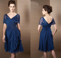 Reference Images V-Neck Chiffon 2014 Hot Beach V Neck Suit Lace chifon Tea length A-line succinct graceful Sexy mother of bride dresses Short Sleeves Plus Size Prom Blue