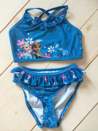 Wholesale Frozen Children s Swimwear Elsa and Anna Princess Pattern Polyester Kids Beachwear Swimsuit Sets Per EMS Fast Shipping