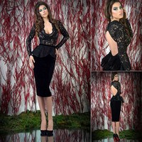 Reference Images Scoop Lace Sexy 2014 Bien Savvy Sheath Knee-Length Black Lace Cocktail Dresses With Sheer Scoop Neckline Backless Long Sleeve Peplum Prom Gowns