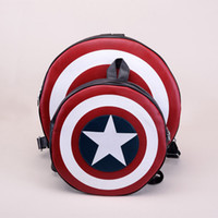 Wholesale Hot sale Newest Deisgn Women Men Fashion Backpack Round PU Leather Travel Bag Captain America Rucksack Bag H11084