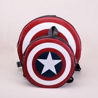 america pu leather - Hot sale Newest Deisgn Women Men Fashion Backpack Round PU Leather Travel Bag Captain America Rucksack Bag H11084