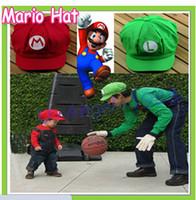 Wholesale New arrival fashion colors Luigi Super Mario Bros Cosplay Adult Hat adjustable Buckle cap Free Drop