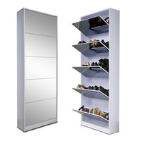 MDF made in china shoes - Ship from USA Fashion Wood Mirror Shoe Cabinet Living Room Furniture Made In China