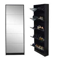 shoe cabinet - Ship from USA Fashion Wooden Mirror Shoe Cabinet Living Room Furniture Made In China