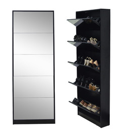 Wholesale Ship from USA Fashion Wooden Mirror Shoe Cabinet Living Room Furniture Made In China