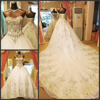 Wholesale 2014 New Luxury Wedding Dresses Sweetheart Crystals Beads Crystal Applique Lace up A Line Cathedral Train Tulle Hot Church Bridal Gowns