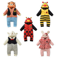 Unisex Spring / Autumn 100% Cotton 2014 spring models Infants and young children Bodysuit climbing clothes animal ladybug bee modeling hooded Romper L57