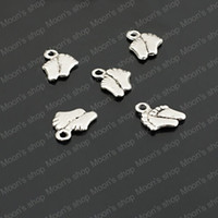 Pendant Necklaces Unisex Circle Wholesale Cheap 9*8mm Antique Silver Little baby foot Alloy Charms Pendants Diy Cute Findings Accessories 50 pieces(J-M3574)