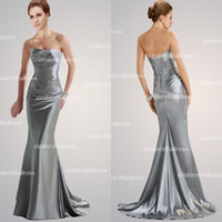 Wholesale 2014 Hot Sale Cheap In Stock Silver Strapless Mermaid Evening Dresses Crystal Bandage Prom Dress Elastic Satin Celebrity Gown LFC035