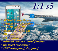 Wholesale DHL S5 SM G900 Octa Core MTK6592 inch HD GB GB Android MP D Air Gesture IP67 infrared remote contro Unlocked Smart Phone