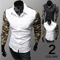 Casual Men Cotton Fashion Men's camouflage splicing sleeves dress shirts spring autumn men 100% cotton long sleeve shirt man business fashion shirts